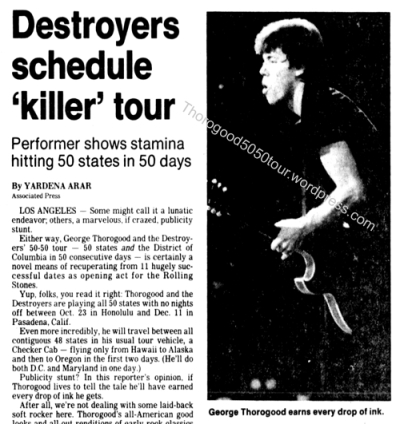 00 George Thorogood 50 50 Tour Destroyers Schedule Killer Tour Delaware Morning News 1981 Oct 19