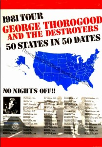 00 George Thorogood 50 States in 50 Dates 1981 Tour Poster