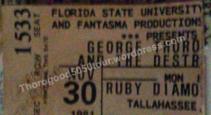 40 George Thorogood 50 50 Ticket Stub Ruby Diamond Tallahassee Florida