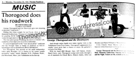 40 Ruby Diamond Tallahassee Florida 50 50 Tour Preview Article Nov 30 1981