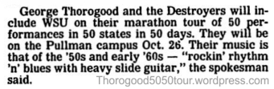 04 George Thorogood 50 50 preview article Pullman WA Spokane Daily Sept 23 1981
