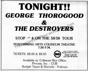04 Pullman George Thorogood 50 50 Concert Ad Tonight Evergreen Oct 26 1981 Pg5