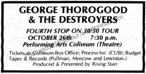 04 Pullman George Thorogood 50 50 Tour Small Ad Evergreen Oct 21 1981