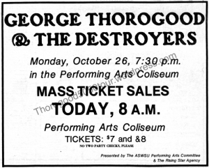 04 Pullman George Thorogood 50 50 Tour Tickets on Sale Ad Evergreen Sept 17 1981 pgA3