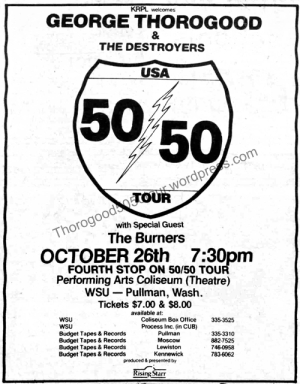 04 Pullman Thorogood 50 50 Concert Ad Shield Version with Opening Act WSU Evergreen 1981 Oct 9 Pg2