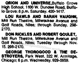 20 George Thorogood 50 50 Tour Chicago Park West Text Advert 1