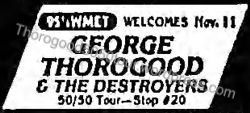 20 George Thorogood Park West Concert Ad w 50 50 Wording Chicago Tribune Oct 18 1981