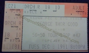 48 George Thorogood 50 50 Tour Popejoy Hall Ticket Stub 1981 Dec 8