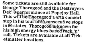 48 George Thorogood 50 50 Tour Popejoy Hall Tickets Still Available After Hours