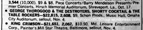 13 Thorogood 50 50 Omaha Concert Stats w Opening Act - Billboard Magazine Nov 21 1981