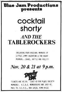 13 Cocktail Shorty and the Tablerockers Kansas City Ad 1981 Nov