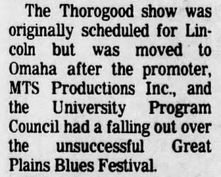 13 George Thorogood 50 50 Tour Nebraska Concert Moved from Lincoln Lincoln Journal Star Nov 5 1981 pg 10