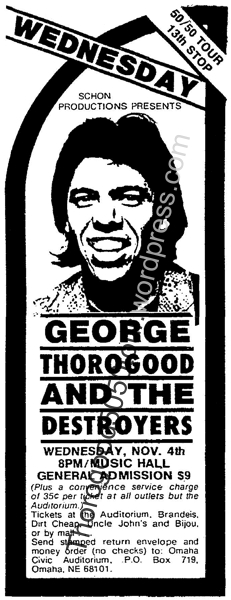 13 George Thorogood Omaha 50 50 Tour Concert Ad Nov 1 1981