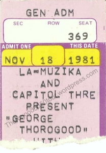27 George Thorogood 50 50 Tour Stop 27 Capitol Theatre NH Ticket Stub