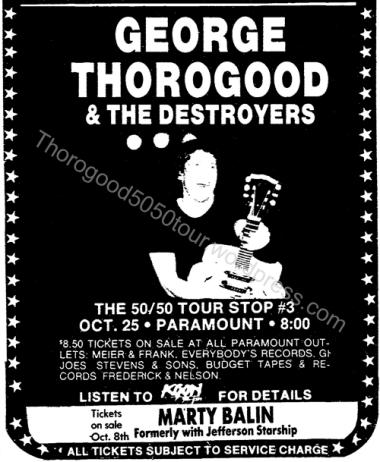 03 George Thorogood 50 50 Tour Ad Portland Paramount