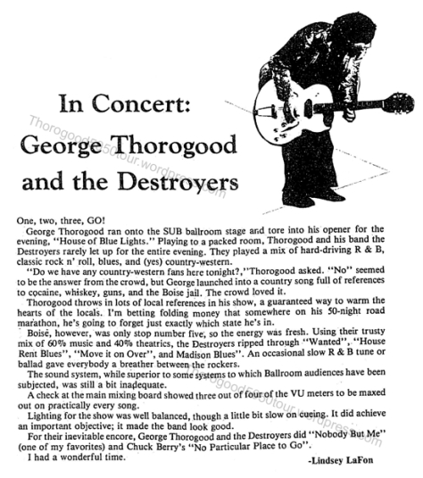 05 George Thorogood 50 50 tour Boise SUB Concert Review University News October 28 1981 pg 10