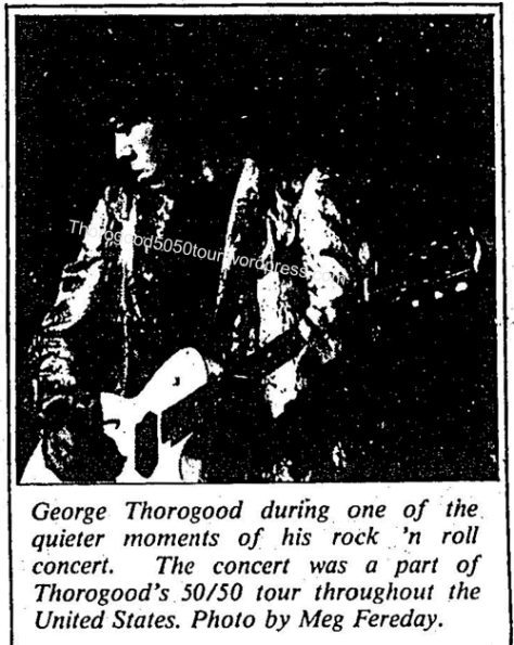 05 George Thorogood concert photo Boise State 50 50 tour University News 1981 October 28 pg 4