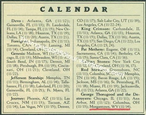 23 George Thorogood 50 50 Tour Morgantown West Virginia Concert Listing Calendar