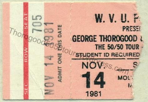 23 George Thorogood 50 50 Tour Morgantown West Virginia University Mountainlair Ticket Stub 1981 Nov 14