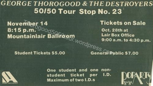 23 George Thorogood 50 50 Tour Mountainlair Ballroom Advertisement Daily Athenaeum 1981 Oct 27