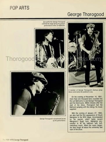 23 University of West Virginia Monticola Yearbook 1982 pg 74 George Thorogood 50-50 Tour Photo Whole Page