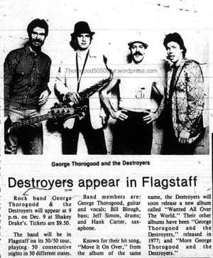 49 George Thorogood Flagstaff 50 50 Tour Ad Lumberjack Dec 04 1981 Concert Promo w Band Photo