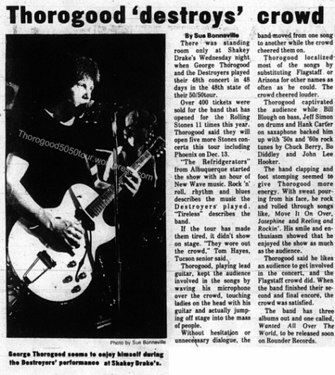 49 George Thorogood Flagstaff 50 50 Tour Ad Lumberjack Dec 11 1981 Concert Review w Photo
