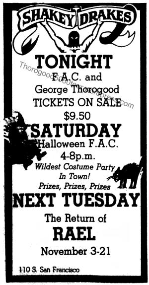 49 George Thorogood Flagstaff 50 50 Tour Ad Lumberjack Oct 30 1981 Shakey Drakes