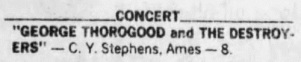 14 George Thorogood 50 50 Ames Iowa Concert Listing Des Moines Register 1981 Nov 5