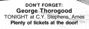 14 George Thorogood 50 50 Tour CY Stephens Concert Listing Tickets at the Door The Planet Nov 5 1981