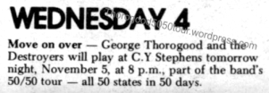 14 George Thorogood 50 50 Tour CY Stephens Concert Listing with Wrong Date The Planet Oct 22 1981