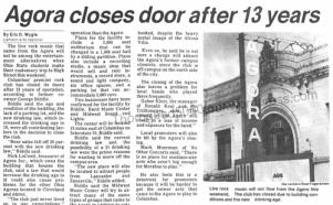 22 Agora Ballroom Columbus Closes Ohio State Lantern Sept 22 1983 pg 7