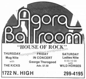 22 Agora Ballroom Columbus Thorogood 50 50 Concert Ad Ohio State Nov 13 1981 pg 9