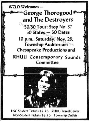 38 South Carolina Thorogood 50 50 Concert Ad Rectangular Gamecock Nov 19 1981 pg 11