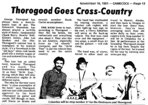 38 South Carolina Thorogood Goes Cross Country 50 50 Concert Preview Gamecock Nov 16 1981 pg 13