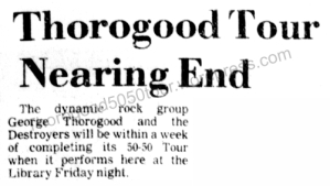 44 George Thorogood 50 50 Tour Fayetteville Preview Ad w Opening Act