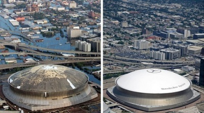 45 Louisiana Superdome Before and After Hurricane Katrina Repairs