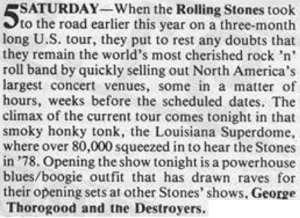 45 Louisiana Superdome Concert Listing Destroyers Opening for Rolling Stones Wavelength Magazine Dec 1981 Pg 9
