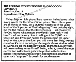 45 Preview Louisiana Superdome Rolling Stones George Thorogood Loverboy Baton Rouge Billboard Dec 4 1981 Pg 5