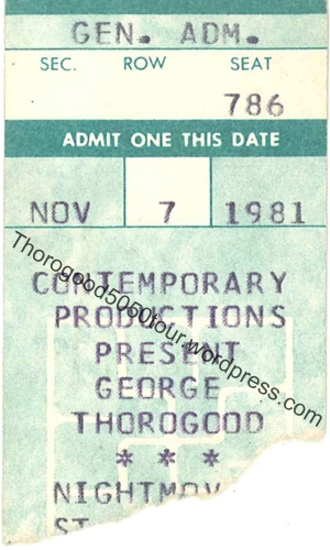16 Night Moves Ticket Stub front