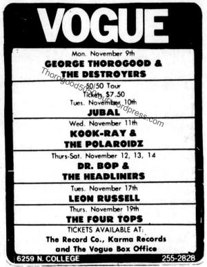 18 George Thorogood Concert Ad 50 50 Tour Indianapolis Star Nov 8 1981