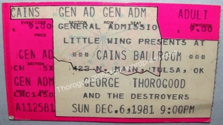 46 Tulsa Cains Ballroom George Thorogood 50 50 Tour Ticket Stub