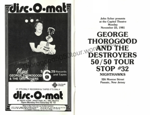 32-george-thorogood-capitol-theater-nj-50-50-tour-concert-program-interior-nov-23-1981