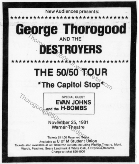 34 George Thorogood 50 50 Tour Warner Theatre Ad Maryland Diamondback Student Newspaper 1981 Nov 09