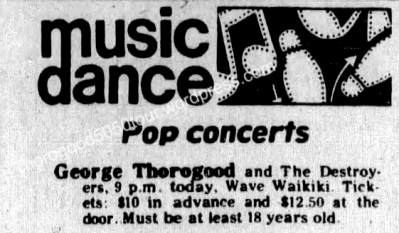 01 George Thorogood 50 50 Tour Concert Listing Wave Waikiki Honolulu Advertiser Oct 23 1981 pg 49