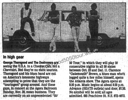 39 George Thorogood 50 50 Tour Atlanta Agora Concert Preview Atlanta Constitution Nov 28 1981 pg 2