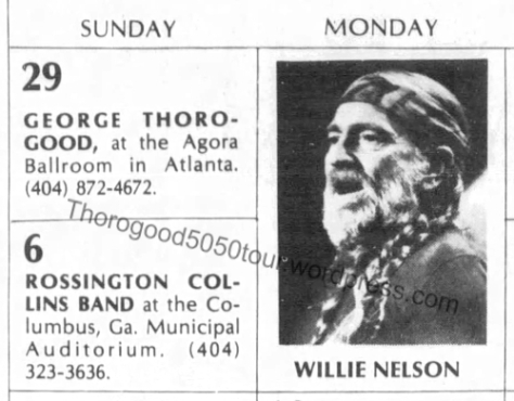 39 George Thorogood Agora Atlanta 50 50 Tour Concert Calendar Montgomery Advertiser Willie Nelson Dec 4 1981