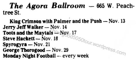 39 George Thorogood Agora Atlanta 50 50 Tour Concert Listing Augusta Nov 11 1981