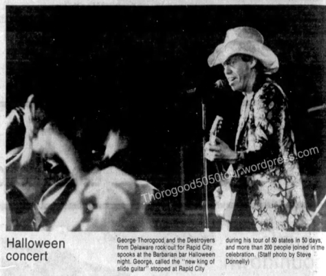 09 George Thorogood 50 50 Tour Concert Photo Barbarian Rapid City South Dakota 1981 Oct 31 Rapid City Journal Nov 2 1981 pg 2