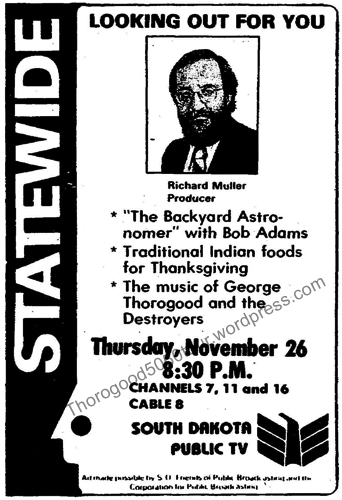 09 George Thorogood 50 50 Tour Rapid City South Dakota Ad for Television Broadcast Aberdeen American News 1981 Nov 22 pg A15